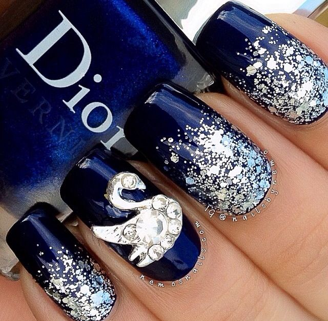 For Prom Blue Nail Ideas: Navy Blue Nails, The