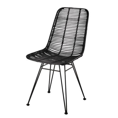 Stuhl Aus Rattan Und Metall Schwarz Metalen Stoelen