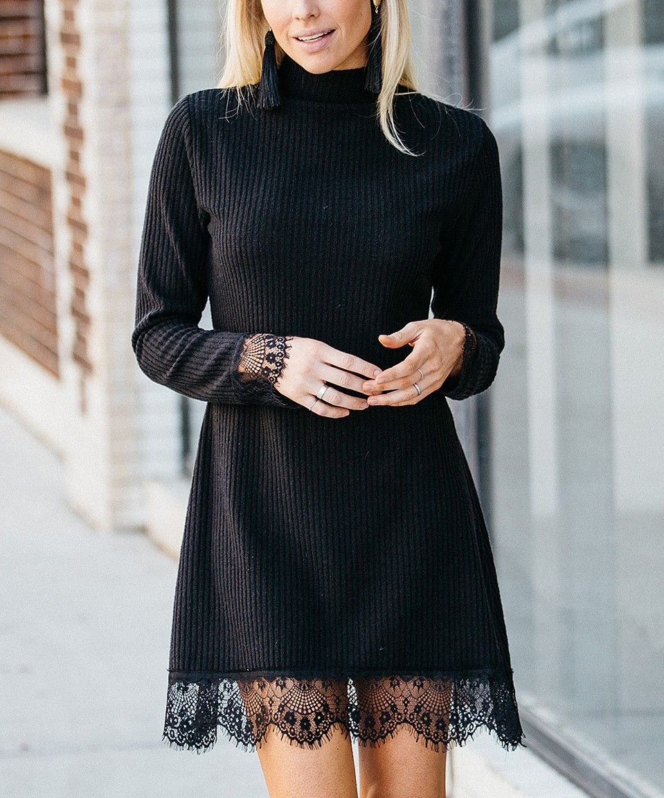 415d24fced9 Take a look at this Black Lace-Trim Sweater Dress - Women today!