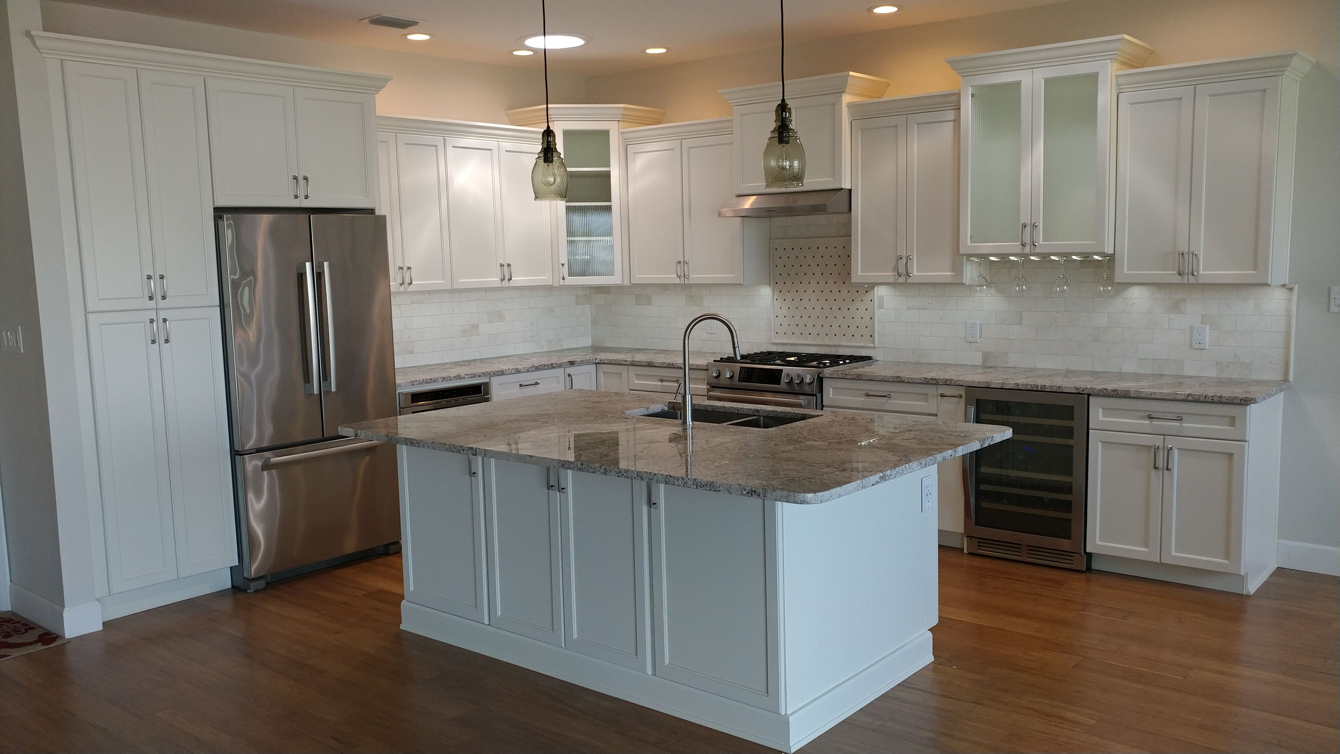 Classic Elegance Meets Technology Alabaster Recessed Cabinets By Eudora Granite Counter Tops And Marble Backsp Recessed Cabinet Steel Fixtures Modern Kitchen