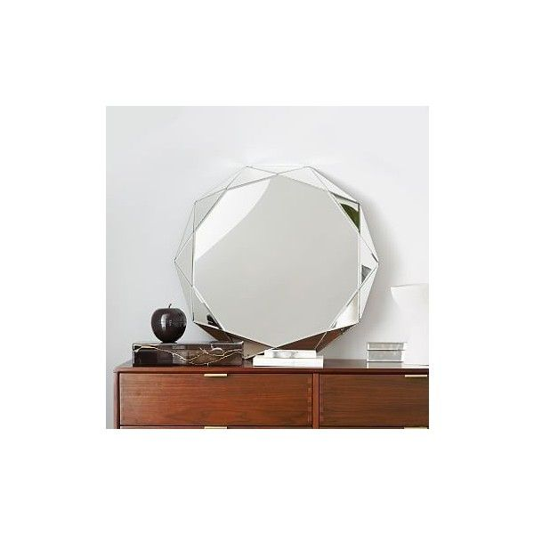 West Elm West Elm Faceted Mirror, 10 Sides - Wall Mirrors - Hanging... ($249) ❤ liked on Polyvore featuring home, home decor, mirrors, west elm, eglomise mirror, accent mirrors, faceted mirror and flower mirror