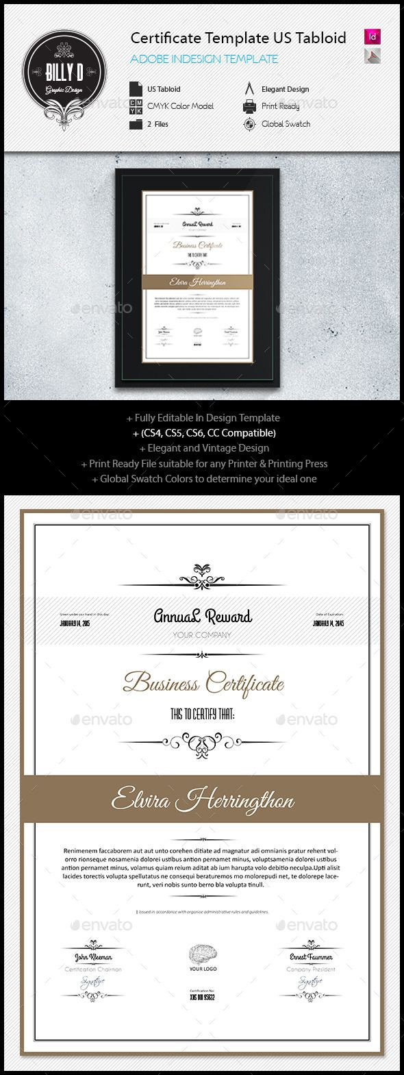 certificate template us tabloid certificate template indesign indd download here http