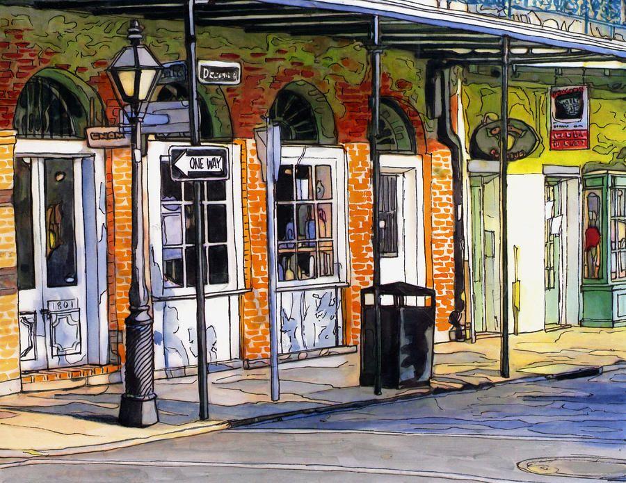John Boles   WATERCOLOR          French Quarter Shops Painting