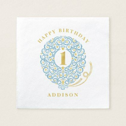 Elegant Faux Foil Lacy Balloon 1st Birthday Party Paper Napkin - elegant gifts gift ideas custom presents