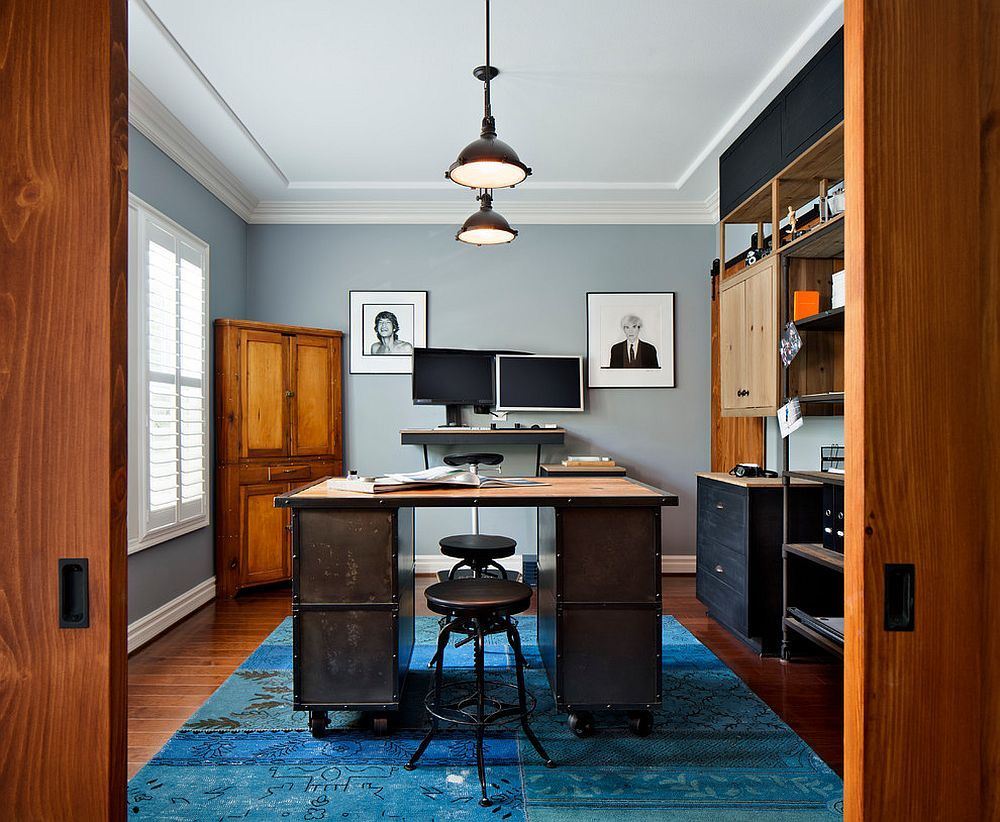 20 Colorful Ways to Enliven Your Gray Home Office | Modern ...