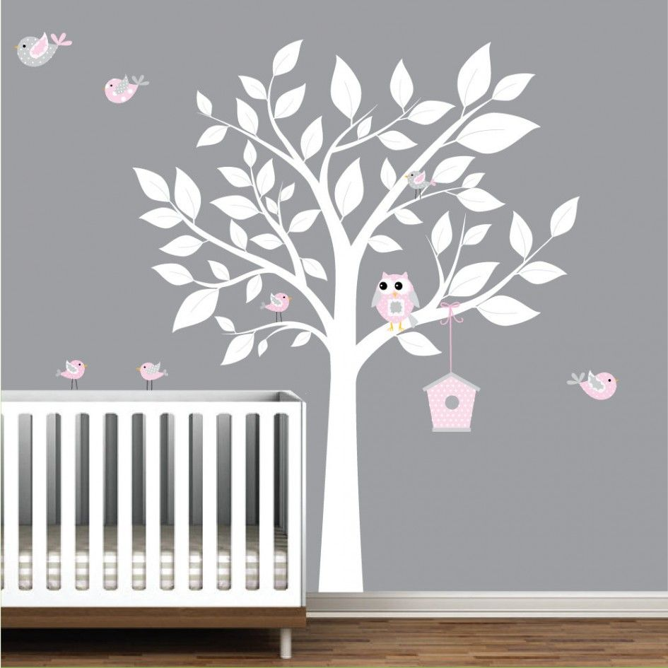 Baby Nursery Cute White Tree Wall Decal Pink Owl Bird Sticker Vinyl Material Gray Stained