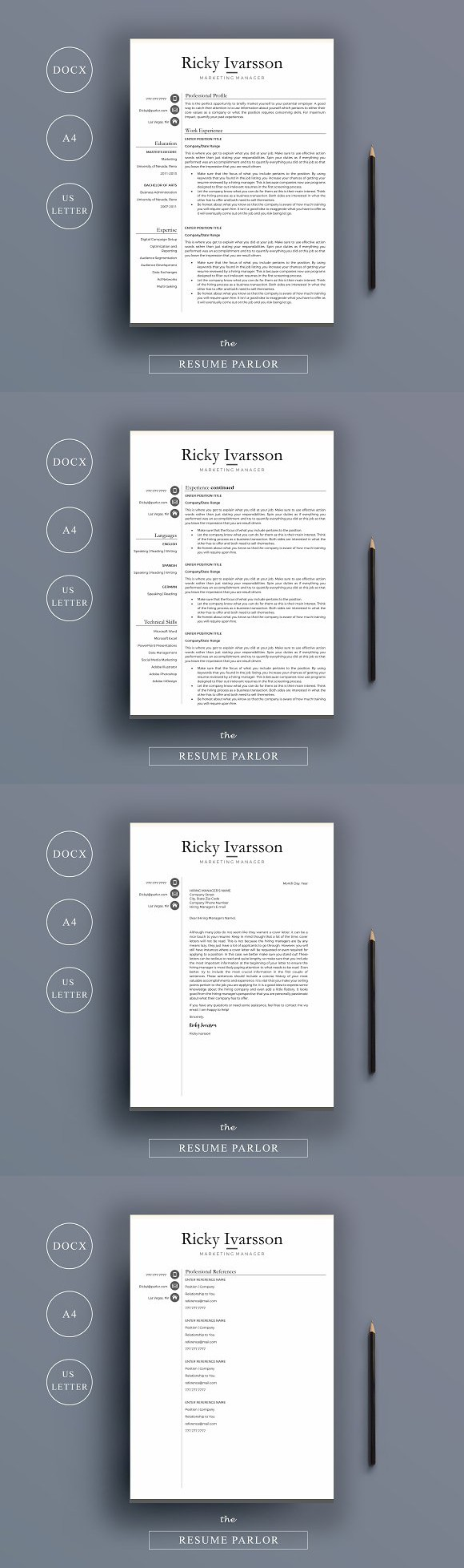 Resume 4 Page A4 + US Letter Sizes. Nursing Resume. 15