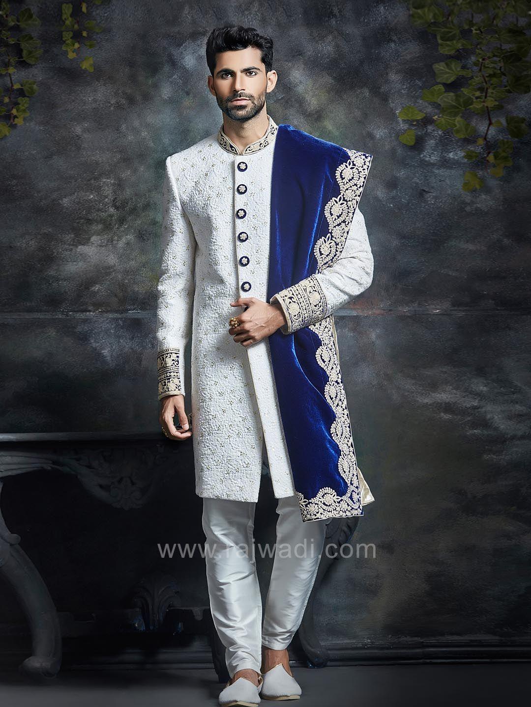 White embossed sherwani with velvet dupatta rajwadi designer