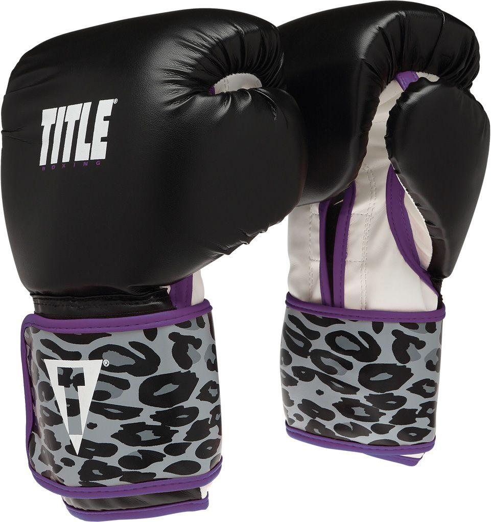 Black gloves with leopard trim - Title Boxing Purple Hoodie Title Safari Leopard Fitness Gloves Black Purple Tbsfg2 Bk