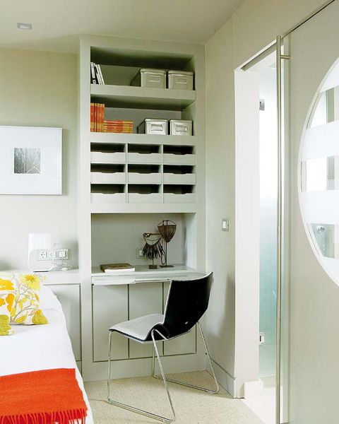 compact workspace in small bedroom design idea small home office in bedroom 13 workspace with library - Compact Bedroom Design