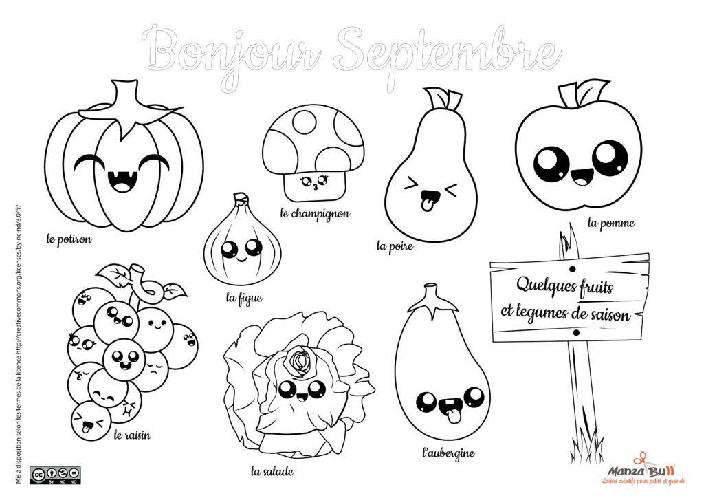 Coloriage Septembre Fruits Et Légumes Kawaii Coloriage Septembre