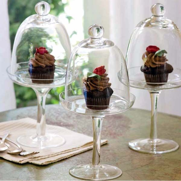 Glass Cupcake Stand, Single Glass Cupcake Stand With Dome