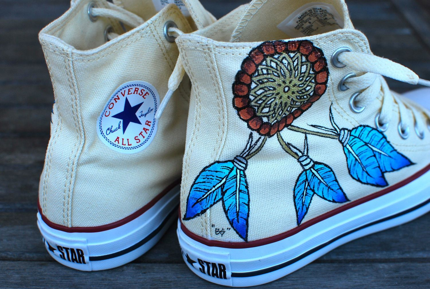 24bcc8928a2e Custom Hand Painted Converse Sneakers - Dream Catcher and Indian Chief with  headdress on Chuck Taylor Hi tops - customizable