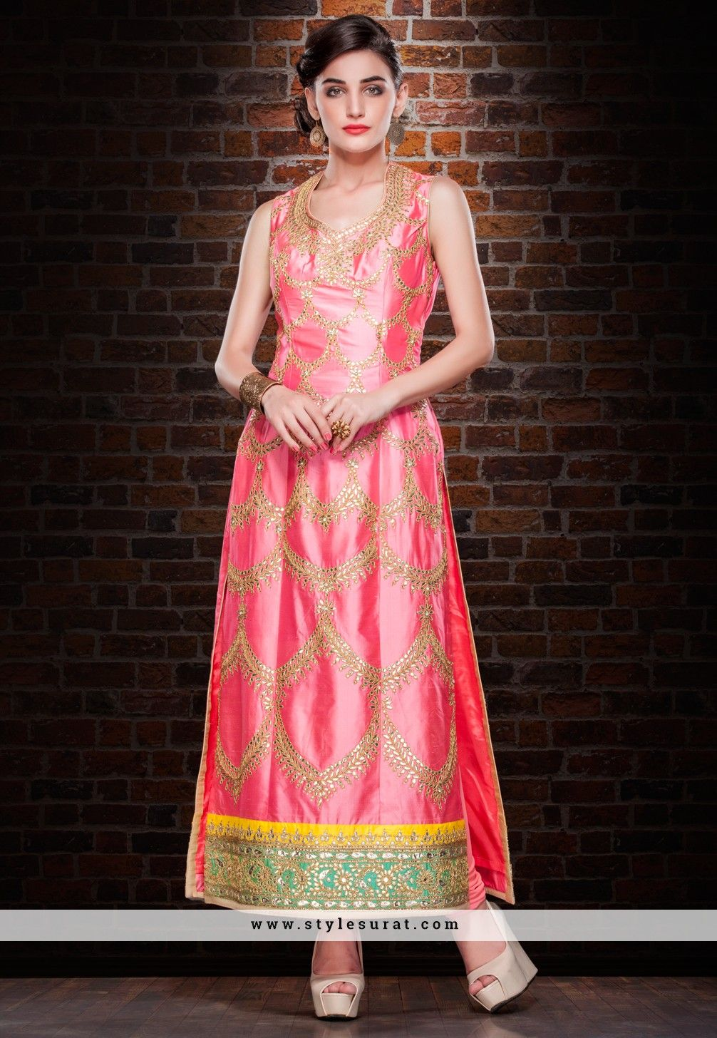 Tussar Silk Fabric Pink Color Designer Party And Wedding Wear ...