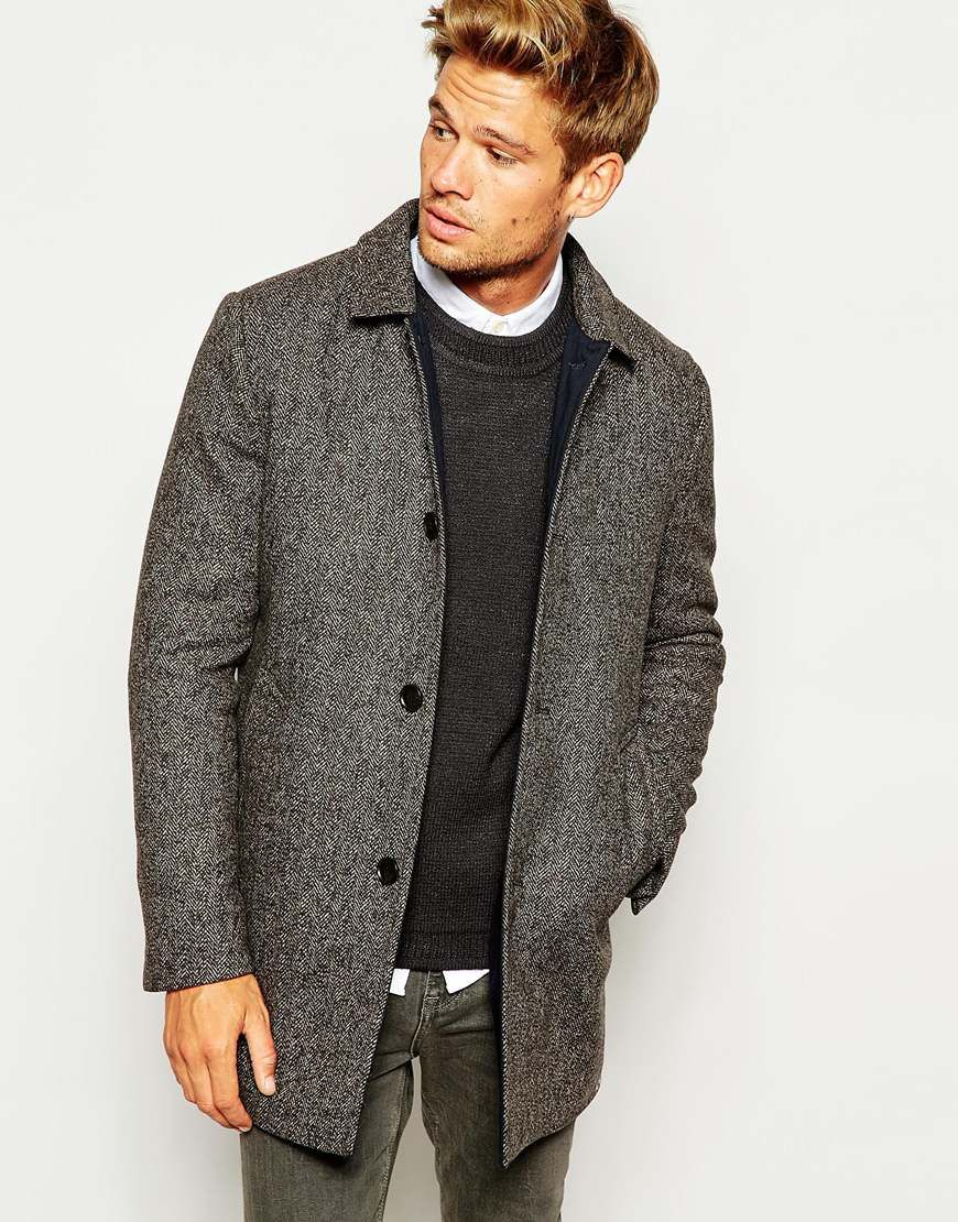 Selected Homme Herringbone Wool-Mix Overcoat with Quilted Lining ...