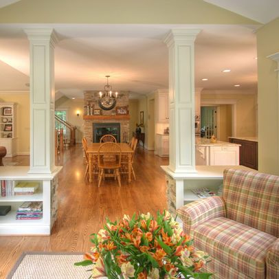 Columns Built In Bookshelves Open Floor Plan Design Pictures Remodel Decor And Ideas Page 5