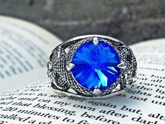 Snake Ring Gothic Ring Sapphire Swarovski Ring by ApplebiteJewelry 37083409518
