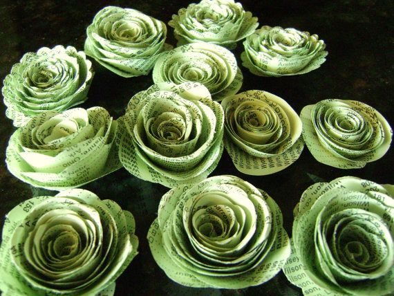Spiral paper flowers made from light green by hbixbyartworks 895 1 spiral paper flowers made from light mint green vintage atlas index book pages or mint parchment paper wedding decorations mightylinksfo