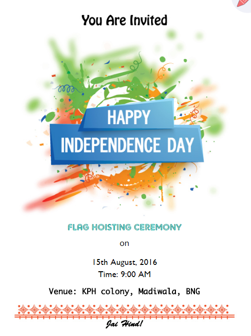 Tri color splash theme flag hoisting invitation Online