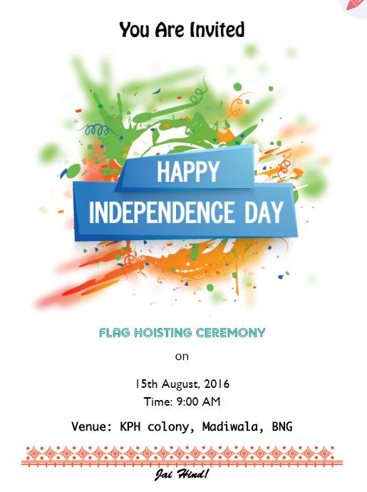Tri Color Splash Theme Flag Hoisting Invitation Online Invitation Card Online Invitation Maker Invitation Card Sample