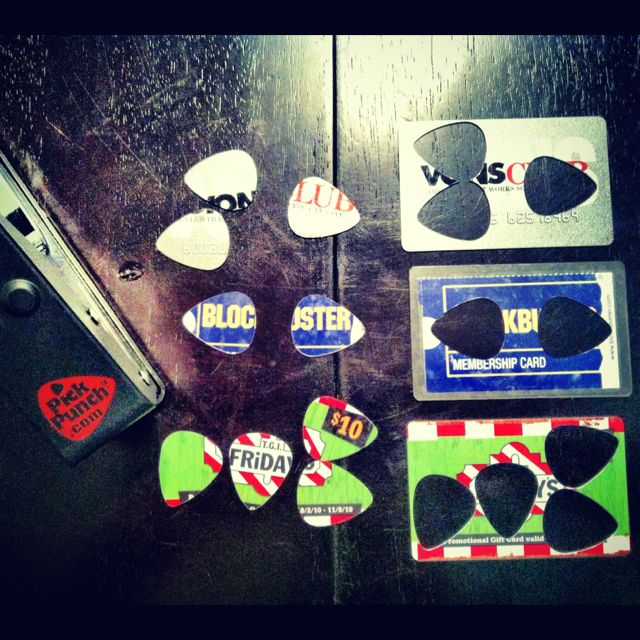 """It a """"hole punch"""" for guitar picks! I made these on my dinner table out of old cards in my wallet. -Coffey"""