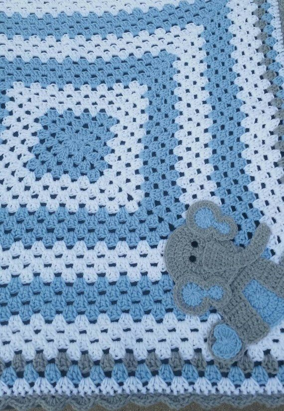 Sitting Elephant Blue and White Baby Blanket / Crochet Baby Blanket / Baby Shower Gift For Boy / Ele