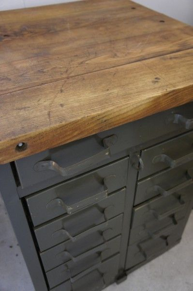 Metal + wood French military workshop drawers. www.sovintage.co.nz