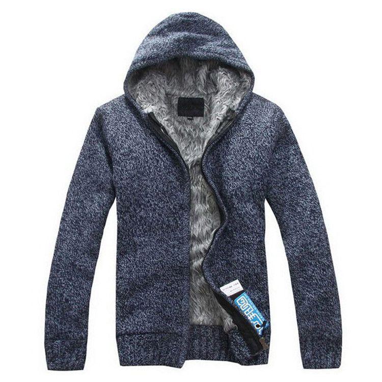 Autunm Winter Fur Lining Thicken Hoodies Men Casual Knitted Sweatshirt Zipper Warm Moleton Masculino