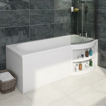 Myspace Right Handed L Shaped Shower Bath And 6mm Shower Screen With Rail Bathroom Inspiration Contemporary Bathroom Inspiration Shower Bath