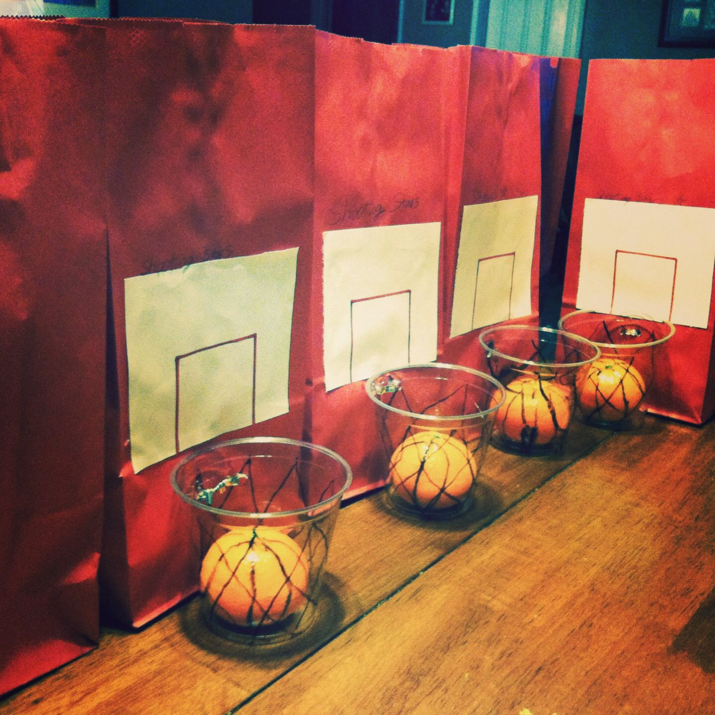 "Our version of ""cuties"" basketballs with backboard"