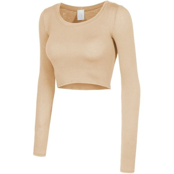 RubyK Womens Lightweight Long Sleeve Scoop Neck Crop Top ($6.75) ❤ liked on Polyvore