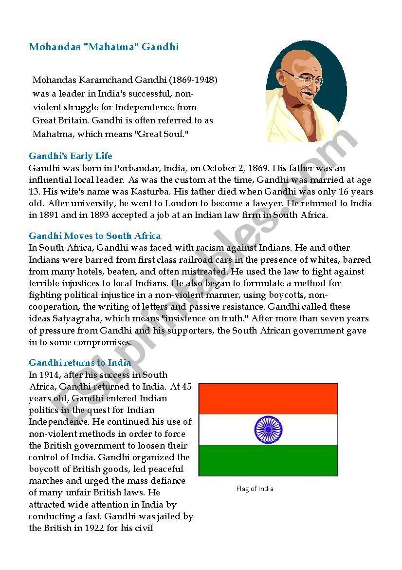 Gandhi S Biography Esl Worksheet By Dupve Esl Lesson Plans Reading Worksheets Student Motivation [ 1169 x 826 Pixel ]