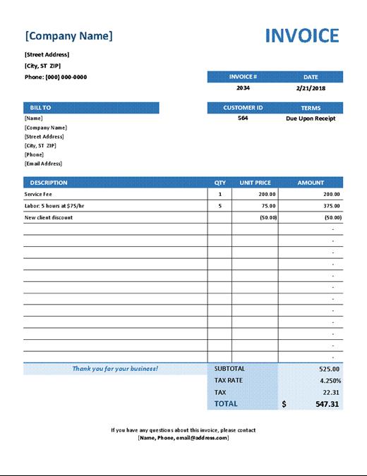 Simple Service Invoice Invoice Template Receipt Template Invoice Template Word