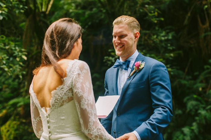 Elopement to Erskine Falls the bride wears Mariana Hardwick Gown | I take you