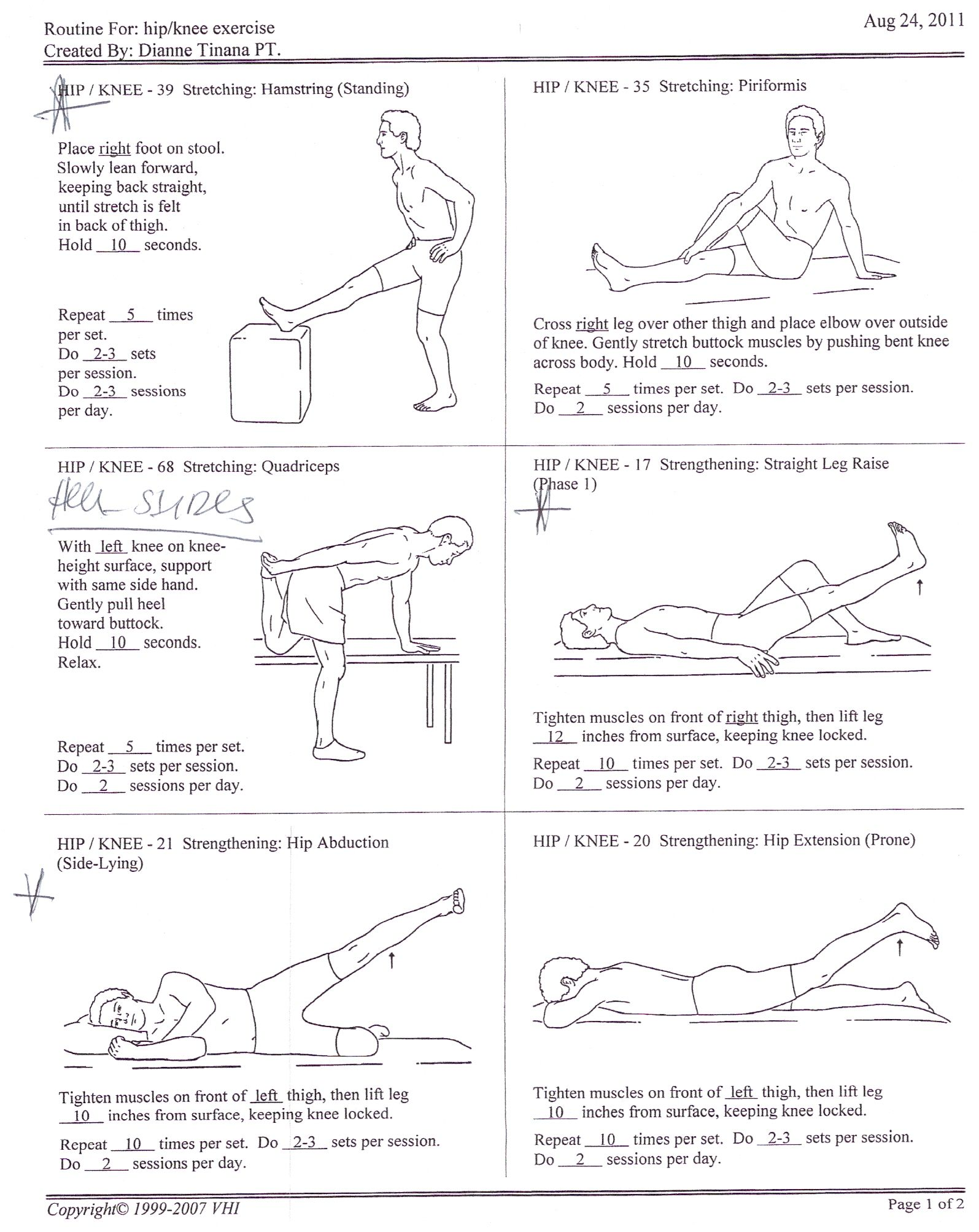 Exercise for physical therapy - Hip Knee Exercises 1 For Justin