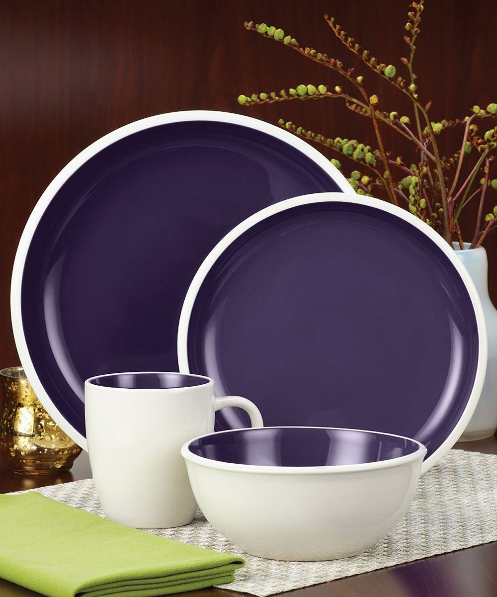 Purple 16-Piece Dinnerware Set | zulily | Home Sweet Home ...