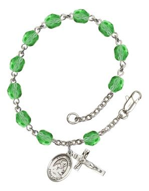 St. Isidore of Seville Silver-Plated Rosary Bracelet with 6mm Peridot Fire Polished beads