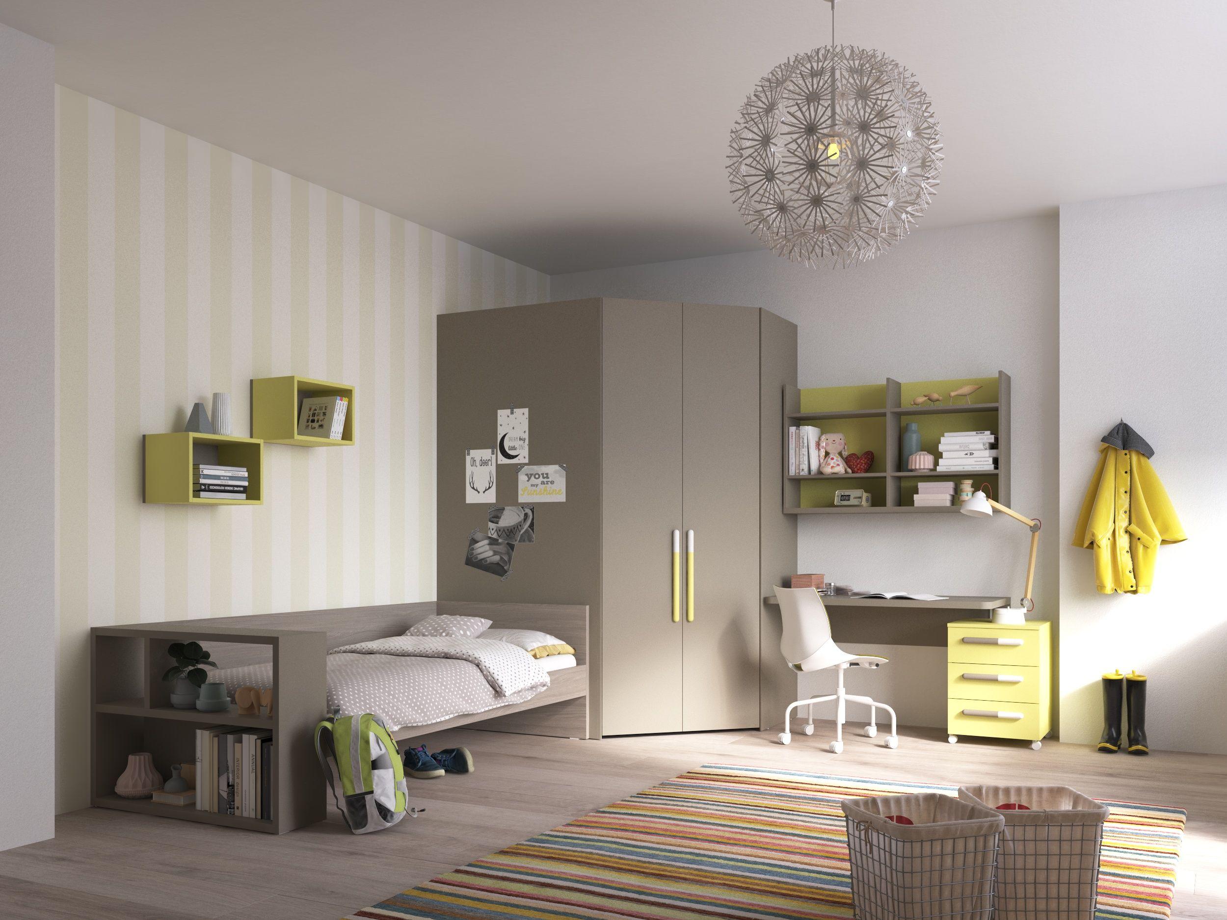 Camerette Nardi ~ Hoekkast inloop bureau en bed met bibliotheek nardi interni