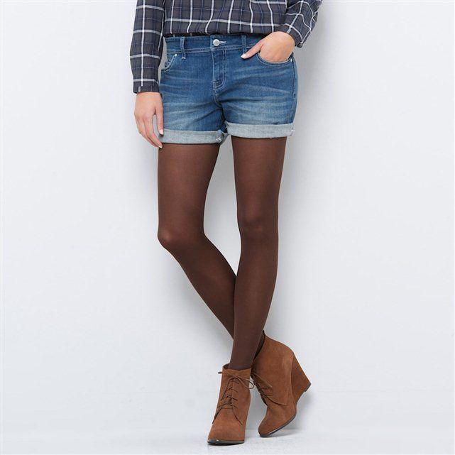 Jeans shorts a vita bassa con risvolti
