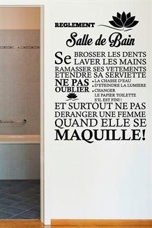 Sticker Les règles de la salle de bain - Noir … | texte ...