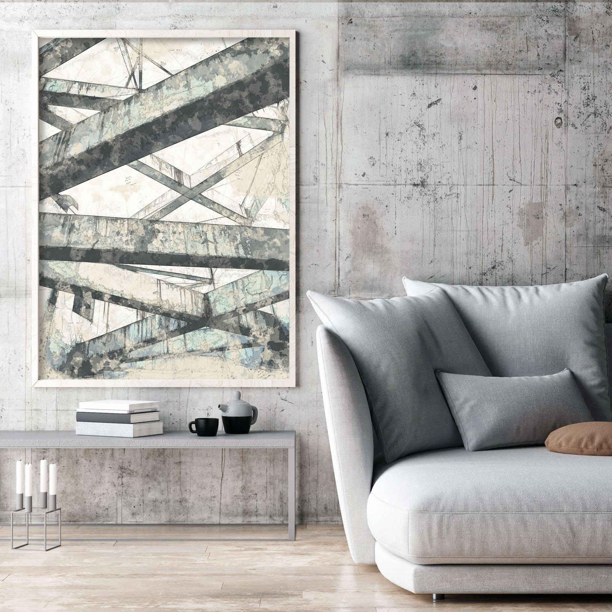 Beam Abstract Print, Abstract Architecture Illustration, Wall Art Decor, Beam