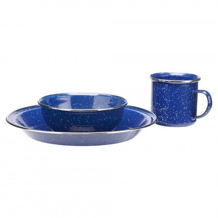 Enamel Dinner Set 12pc U2013 Dark Blue