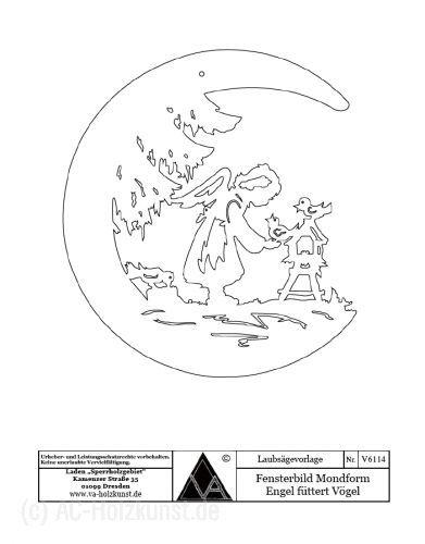 Laubsagevorlage Engel Futtert Vogel Mondform Vorlagen Laternen Basteln Weihnachten Vorlagen
