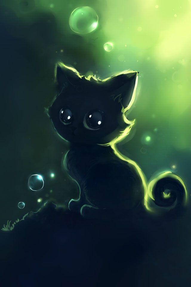 black kitty cute anime cat cat art