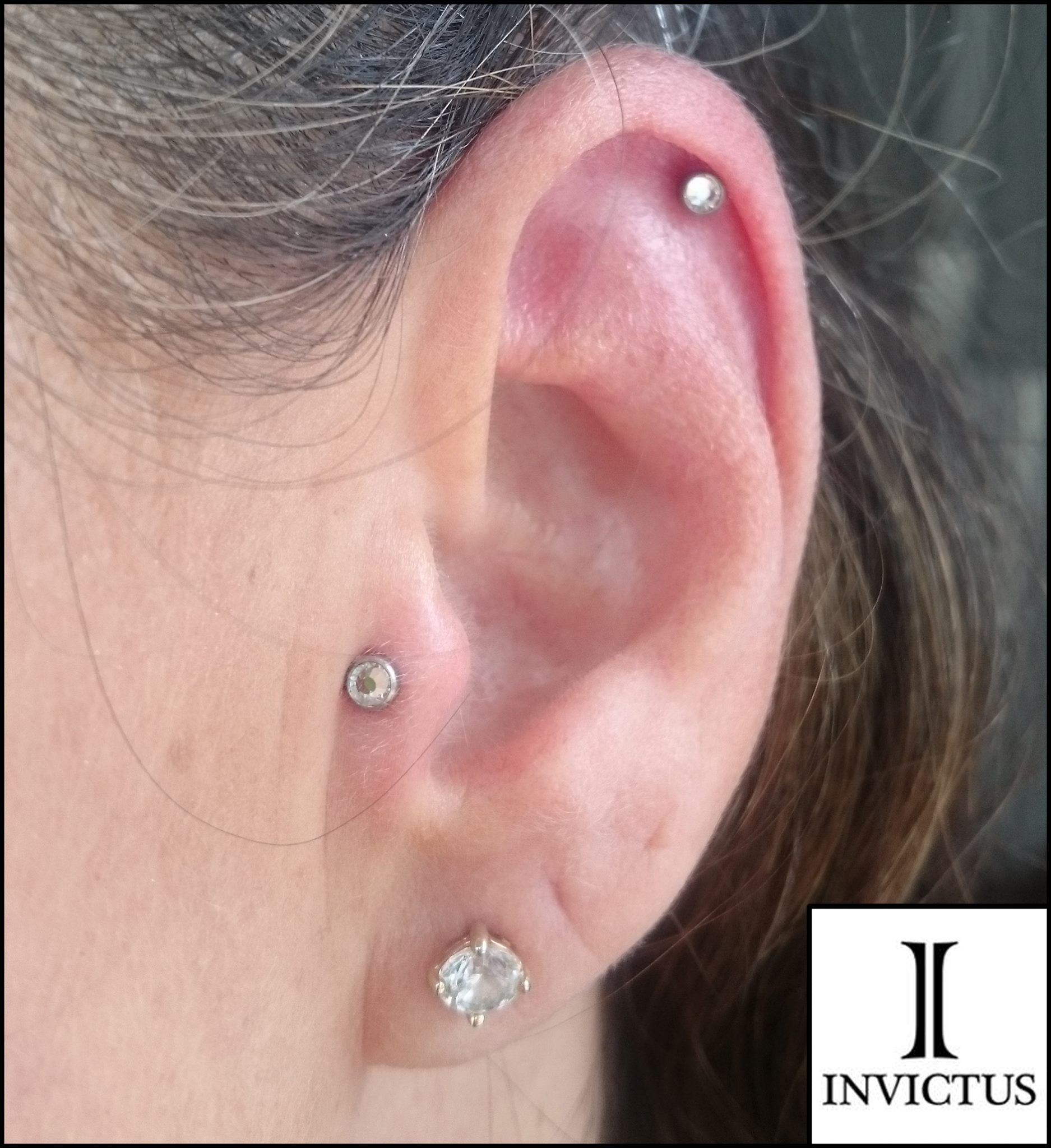 A fresh Tragus Piercing done with an Invictus Body Jewelry Implant