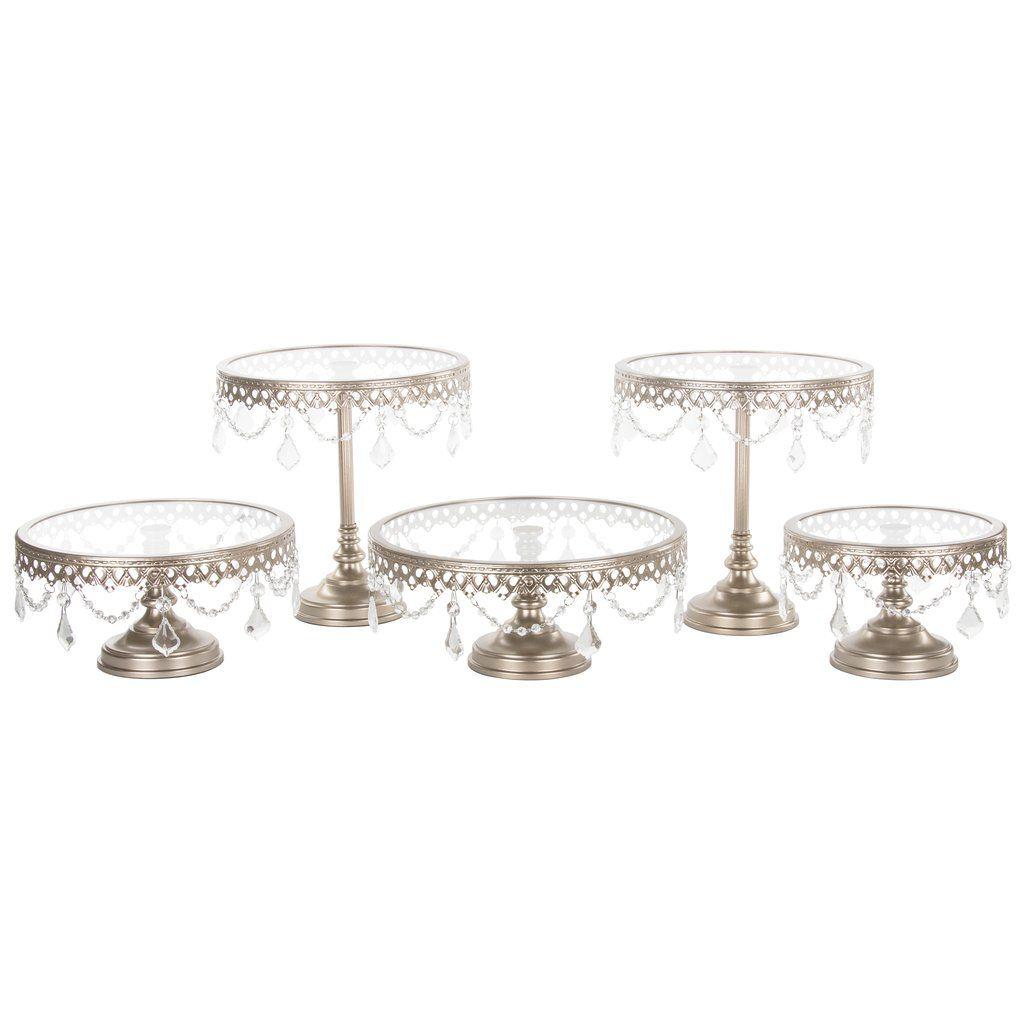 Cake Stand Metal Crystal Dessert Display Holder Silver Decoratins for Wedding