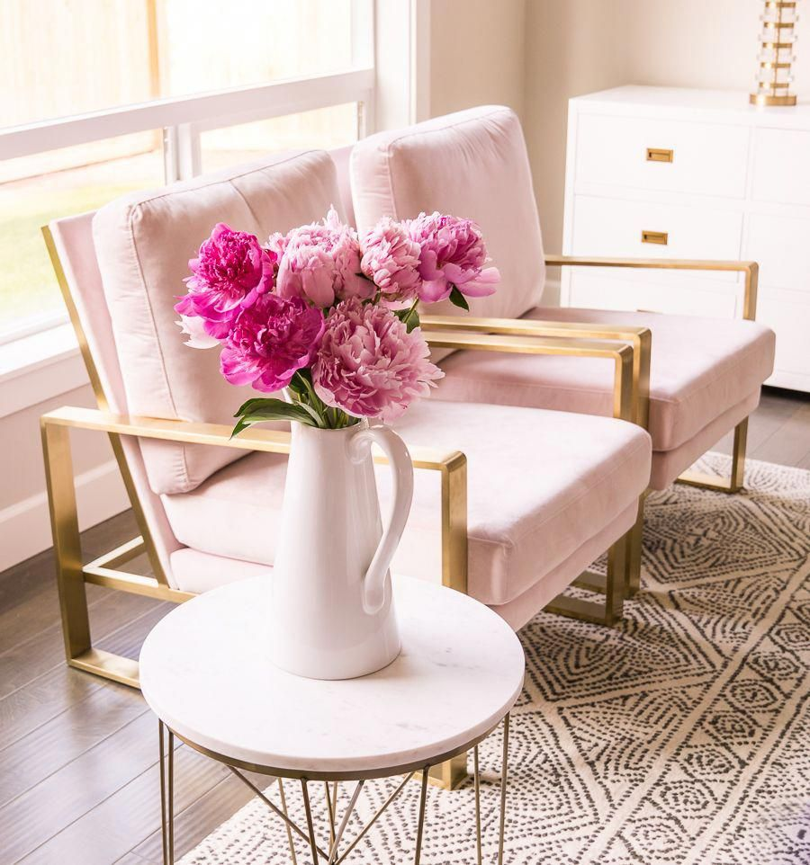 Living room pink chairs blush chairs gold legs pink