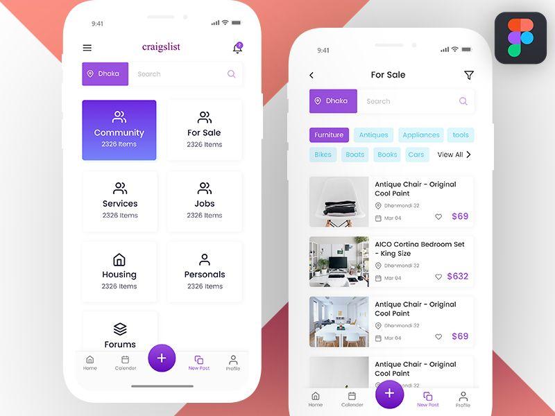 Craigslist App Concept | App design, App, Mobile app design