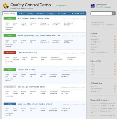 Quality Control Application Wordpress Theme for Wordpress Bug - issue tracking template