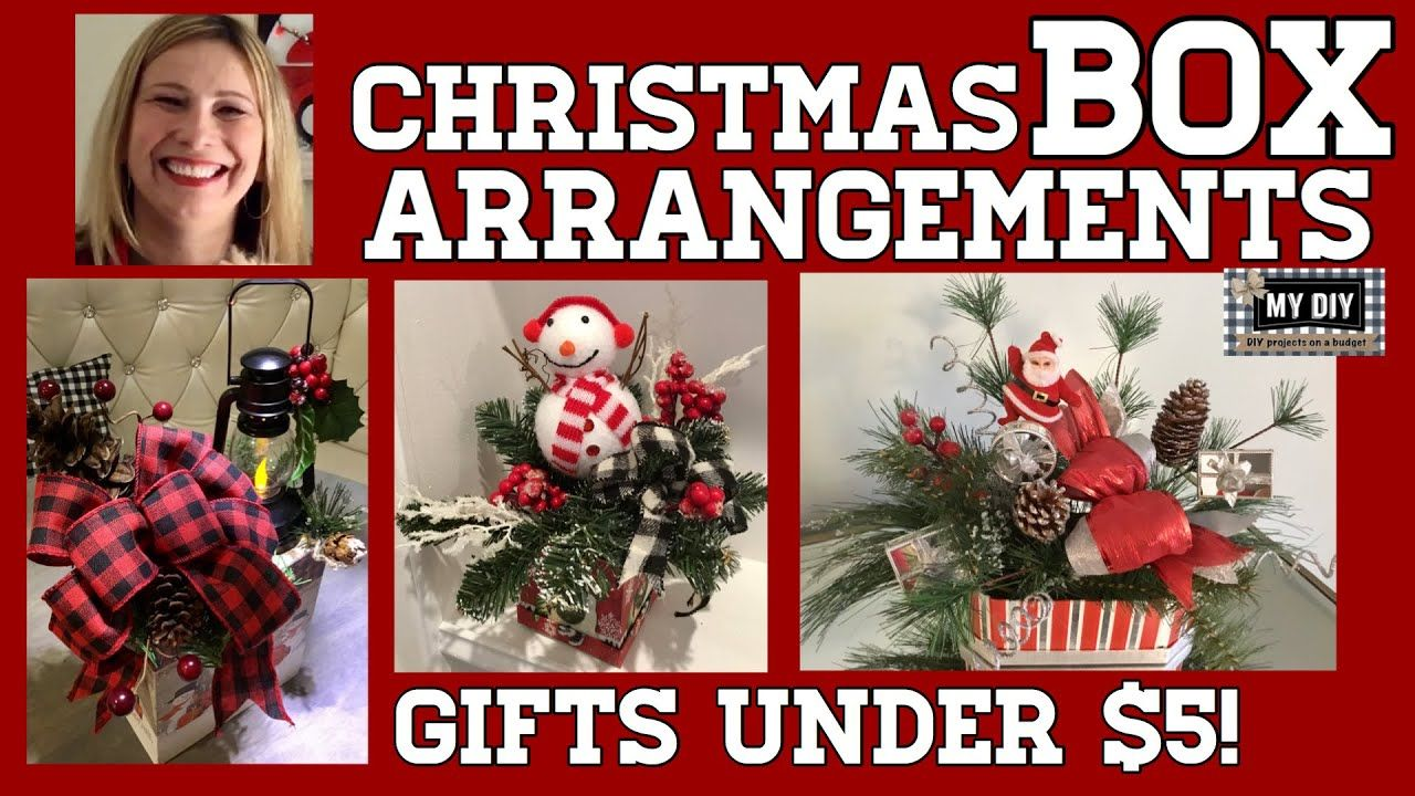 Christmas Arrangement In A Box Dollar Tree Diy Gift Ideas Under 5 Youtube Dollar Tree Diy Dollar Tree Christmas Dollar Tree Centerpieces